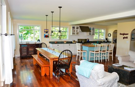 West Tisbury Martha's Vineyard vacation rental - Kitchen with large farm table and island for family gathering