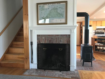 Vineyard Haven Martha's Vineyard vacation rental - Wood fireplace and Franklin stove in living room.