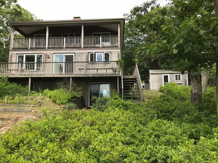 Vineyard Haven Martha's Vineyard vacation rental - Lakeside view shows main & upper deck, private bunkhouse (right).