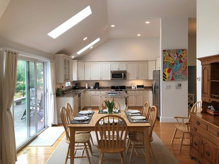 Edgartown Martha's Vineyard vacation rental - Dining area and kitchen with skylights, sliders to deck