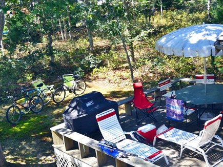 West Tisbury Martha's Vineyard vacation rental - Back deck w plenty of furniture. Also bikes & cooler for your use