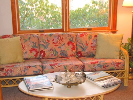 West Tisbury Martha's Vineyard vacation rental - Sunny living room-open floor plan, - stereo, Flatscreen TV, DVD.