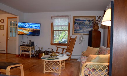 West Tisbury Martha's Vineyard vacation rental - Sunny living room, open floor plan, with stereo, flat screen TV