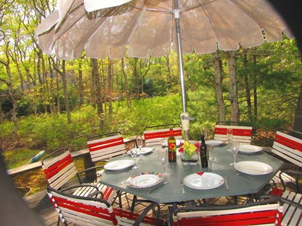 West Tisbury Martha's Vineyard vacation rental - Dine on the deck, in the secluded back yard. Plenty of furniture.