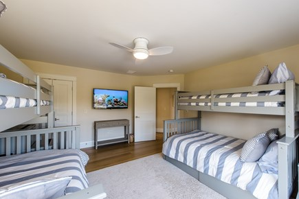Katama - Edgartown, Edgartown Martha's Vineyard vacation rental - Kids bunk room with twin over double beds and 4K def large TV