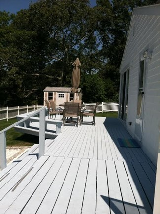 Vineyard Haven   Martha's Vineyard vacation rental - South facing deck with table and chairs seating six
