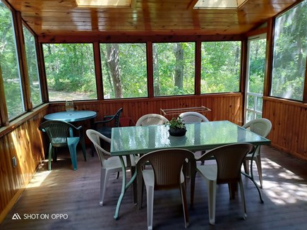 Edgartown, In Katama off Meeting House Wa Martha's Vineyard vacation rental - Large screened porch table seats six and small table seats two