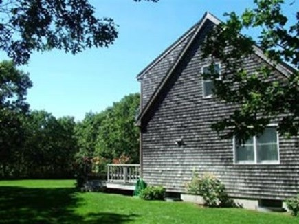 Edgartown Martha's Vineyard vacation rental - Side view with back deck. The lawn is  professionally maintained