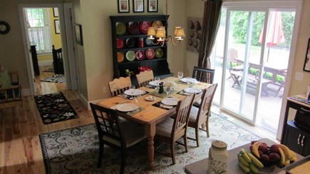 oak bluffs Martha's Vineyard vacation rental - Dining Table with access to back deck through a sliding door