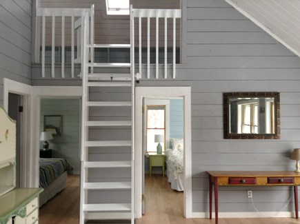 Vineyard Haven Martha's Vineyard vacation rental - View to right as you enter: loft, bedrooms, desk/entry table.