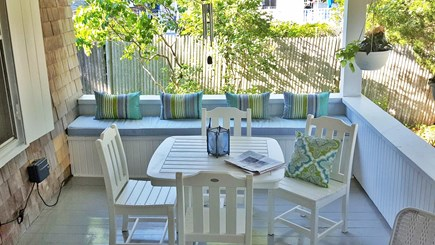 Oak Bluffs, East Chop Martha's Vineyard vacation rental - Front porch dining at its best!