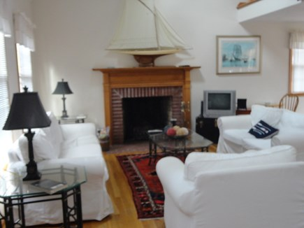 Katama Edgartown   Martha's Vineyard vacation rental - Living room with fireplace and television