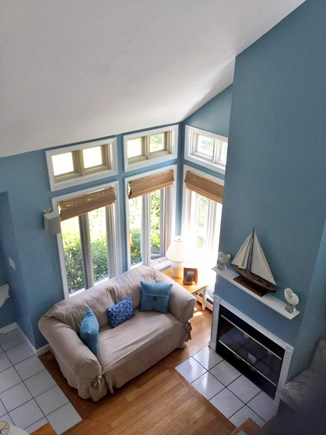 Edgartown Martha's Vineyard vacation rental - View of living room from upstairs landing