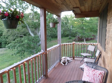 Aquinnah Martha's Vineyard vacation rental - The deck overlooks a pretty landscape.