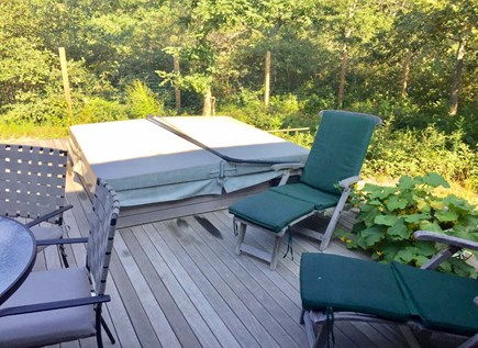 Edgartown Martha's Vineyard vacation rental - Back deck with private hot tub and sun lounge area