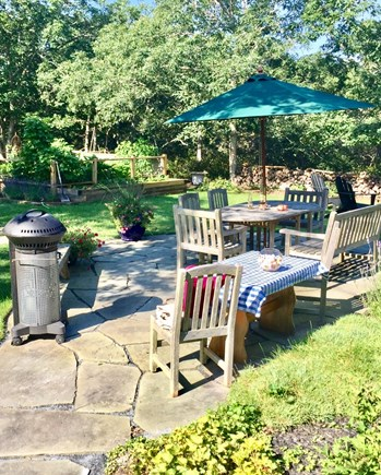 Edgartown Martha's Vineyard vacation rental - Bluestone patio with BBQ and seating and your own veggie garden