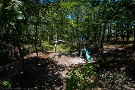 Oak Bluffs - Meadow View Farms Martha's Vineyard vacation rental - Swing set and play area in private backyard.