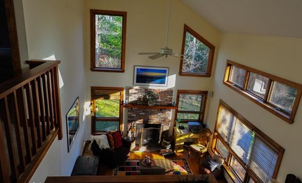 Oak Bluffs - Meadow View Farms Martha's Vineyard vacation rental - View of living room from upstairs landing.