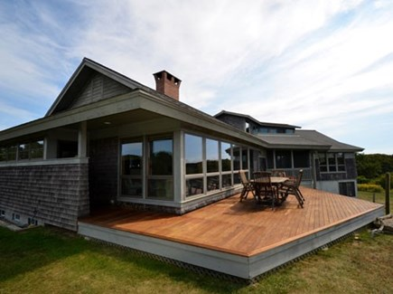 Chilmark Martha's Vineyard vacation rental - Beautiful sun drenched deck overlooking the ocean