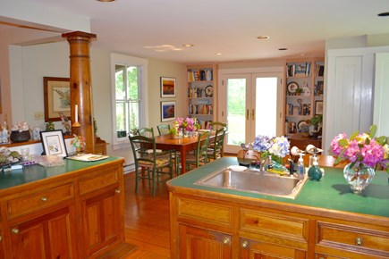 West Tisbury Martha's Vineyard vacation rental - County Kitchen, dining area open to outside back deck.