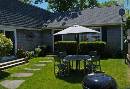 Edgartown Village Martha's Vineyard vacation rental - A spacious lawn accommodates an outdoor dining area.