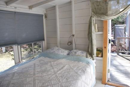 Oak Bluffs Martha's Vineyard vacation rental - Queen Bedroom with door to back deck, yard & outdoor shower