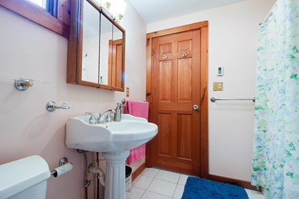 Edgartown Martha's Vineyard vacation rental - Master en-suite full bath with a pedestal sink