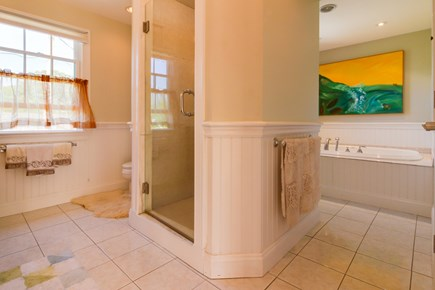 Edgartown Martha's Vineyard vacation rental - En suite bathroom with a stall shower and a luxurious jetted tub