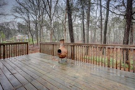 Edgartown Martha's Vineyard vacation rental - The spacious deck features an outdoor chimney fireplace