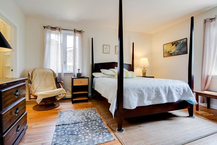 Oak Bluffs Martha's Vineyard vacation rental - The bedroom boasts a queen bed, hardwood floors & a swivel chair