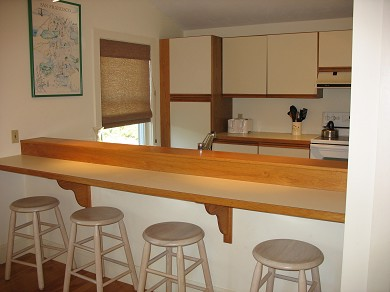 Vineyard Haven Martha's Vineyard vacation rental - Kitchen view with bar and seating for four