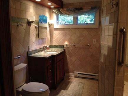 Edgartown, Ocean Heights Martha's Vineyard vacation rental - 1st floor bathroom, marble counter top, tile floors & walls