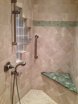 Edgartown, Ocean Heights Martha's Vineyard vacation rental - 1st floor bathroom with walk-in shower, multiple shower heads