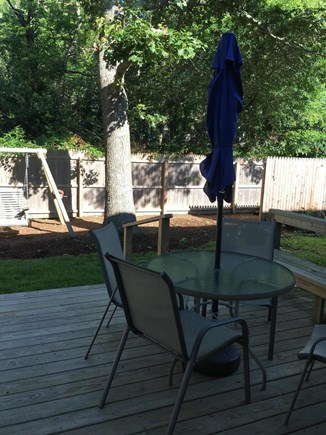 Edgartown, Ocean Heights Martha's Vineyard vacation rental - Walk out from dining area to back deck & private yard