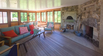 West Tisbury Martha's Vineyard vacation rental - Screened porch with fireplace and pizza oven