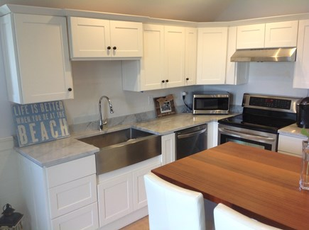 Oak Bluffs Martha's Vineyard vacation rental - Another angle of kitchen with stainless steel farmers sink.