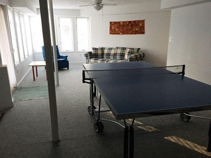 West Tisbury Martha's Vineyard vacation rental - Light-filled walk-out playroom with ping pong table, lower level.