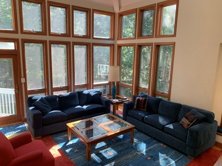 West Tisbury Martha's Vineyard vacation rental - Living room is a main focal point with lots of natural light.