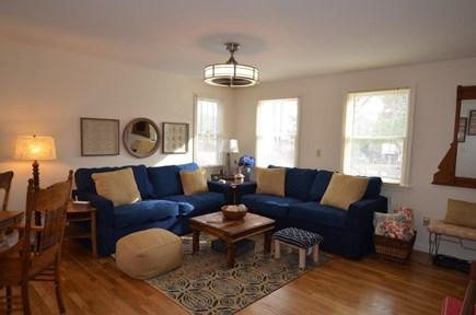 Oak Bluffs Martha's Vineyard vacation rental - Open living room with ceiling fan, wall mounted Smart 4K HD TV .