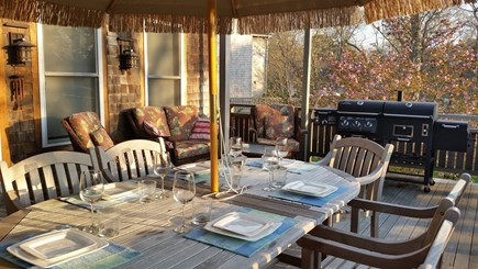 Vineyard Haven Martha's Vineyard vacation rental - Great dining and relaxing on the back deck with sun sets.