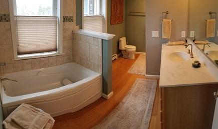 Vineyard Haven Martha's Vineyard vacation rental - Master Suite Bath: large tiled dble custom shower opposite toilet