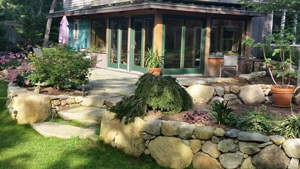 Vineyard Haven Martha's Vineyard vacation rental - Landscaped back yard with patio & gardens to see from deck.