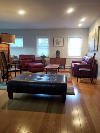 Vineyard Haven Martha's Vineyard vacation rental - Living room: contemporary styling, sun room to left .