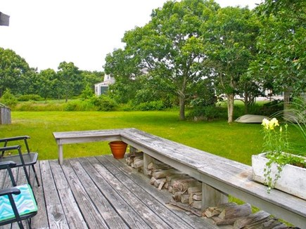 Katama - Edgartown, Edgartown Martha's Vineyard vacation rental - Deck overlooking large grassy yard
