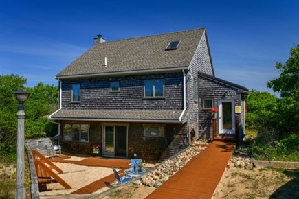 Aquinnah Martha's Vineyard vacation rental - Back view of house with outside shower