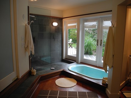 Edgartown, Chappaquiddick Martha's Vineyard vacation rental - Master Bath Indoor/outdoor bath, shower, doors to exterior deck