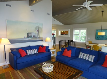 Vineyard Haven Martha's Vineyard vacation rental - Upstairs living area, open area with kitchen in background.
