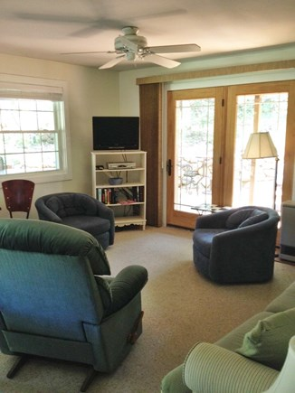 Vineyard Haven Martha's Vineyard vacation rental - Living room T.V. pull out sofa bed, extra memory foam