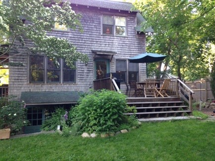 Oak Bluffs, East Chop Martha's Vineyard vacation rental - Back deck with grill, umbrella, table and chairs