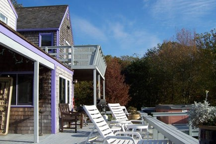 West Tisbury Martha's Vineyard vacation rental - Back Deck of Main house with 5 person Hot Tub